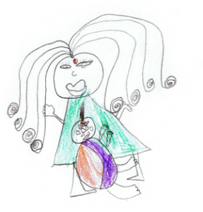 child's drawing of pregnant woman